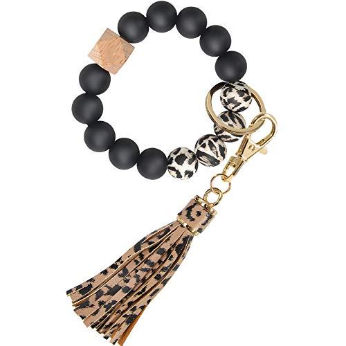 Bracelet Keychain Wristlet, YUOROS Silicone Bead Key Ring Bracelet for Women