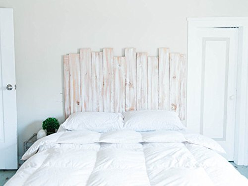 Staggered Distressed White Wooden Headboard