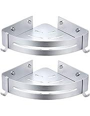Snxiwth Etagère D'angle de Douche, Espace Aluminium de Rangement Etagère D'angle Salle de Bain Cuisine Installée Par Colle Brevetée Auto-adhésif Espace Aluminium Surface sablée (Triangle)