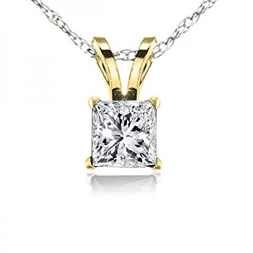 Dazzlingrock Collection 0.25 Carat (ctw) 10K Princess Cut White Diamond Ladies Solitaire Pendant 1/4 CT, Yellow -