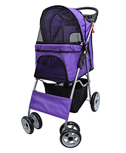 VIVO Four Wheel Pet Stroller, for Cat, Dog and More, Foldable Carrier Strolling Cart, Multiple Colors (Purple) ()