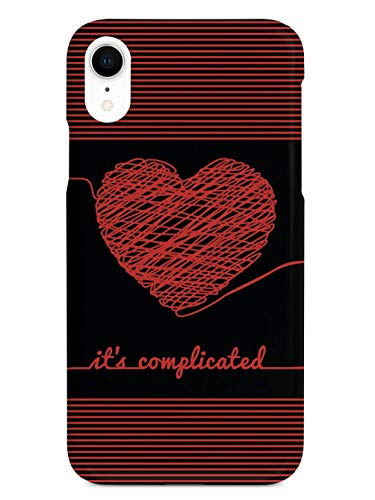 Inspired Cases - 3D Textured iPhone XR Case - Rubber Bumper Cover - Protective Phone Case for Apple iPhone XR - Chaos Doodle Heart - It's Complicated - Black