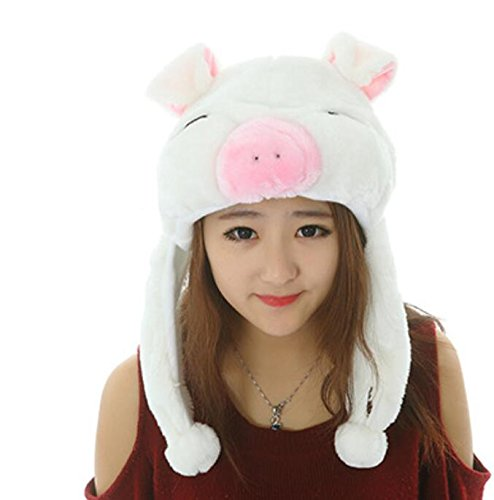 Sevenpring Chic Design Cute Cartoon Performance Headwear Plush Animal Headgear (White Blinking Pig) by Sevenpring