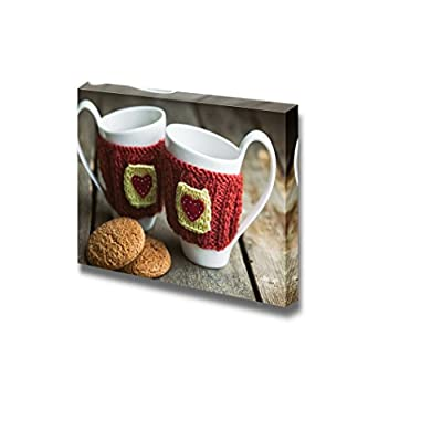 Canvas Prints Wall Art - Knitted Woolen Cups on a Wooden Table | Modern Wall Decor/Home Art Stretched Gallery Canvas Wraps Giclee Print & Ready to Hang - 24