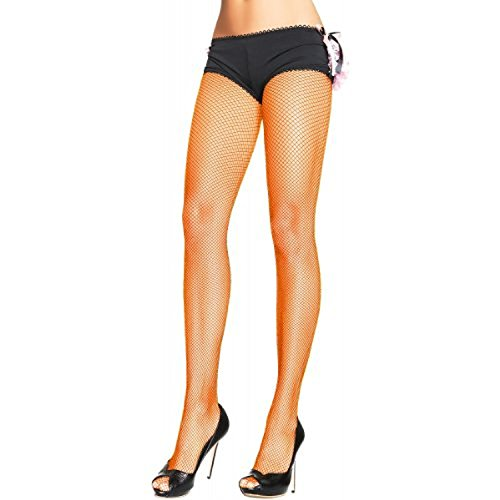 Present Stocking - Leg Avenue Women's Spandex Industrial Net Pantyhose, Neon Orange, One Size