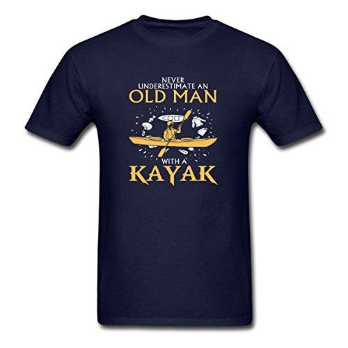 Spreadshirt Never Underestimate an Old Man Kayaking Men's T-Shirt, 3XL, Navy ()