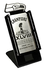 NFL Seattle Seahawks Super Bowl 48 Champions Cell Phone Fan Stand, Silver/Black, Large