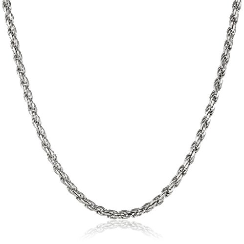 Men's Italian Sterling Silver 3.5mm Diamond Cut Rope Chain Necklace, 22