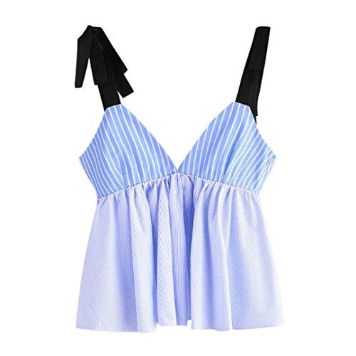 con Bandage scollo Camicetta a maniche per blu Angelof strisce senza le Vest donne Canotta Crop Camicetta V Top a Fq1yzw6ZO