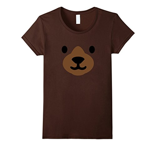 [Womens Bear Face Halloween Costume Shirt Funny Easy for Kids Adults Large Brown] (Bear Halloween Costume Women)