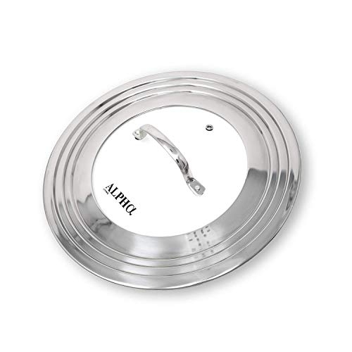 "Alpha Living 60015 7"" to 12"" High Grade Stainless Steel and Glass Universal, Fits All Pots, Replacement Frying Pan Cover and Skillet Lids, 7-12 inches,"