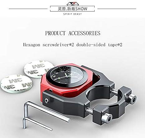 DishKooker Motorcycle Handlebar Clock Thermometer Gauge for Piaggio Honda Suzuki Y-AMAHA ( black )