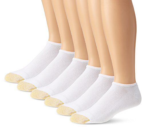 Gold Toe Men's Cotton No Show Athletic Sock - 10-13 (Shoe Size 6-12.5) - White, (6-Pack)