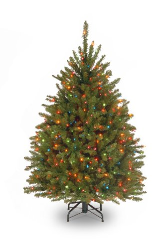 National Tree 4.5 Foot Dunhill Fir Tree with 450 Multicolor Lights, Hinged (DUH-45RLO) (7-5 Ft Pre Lit Artificial Christmas Trees)