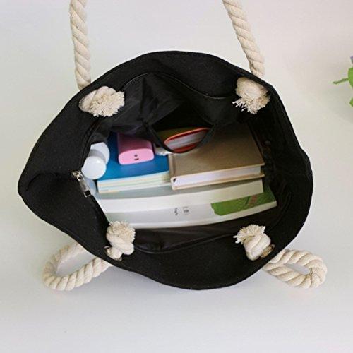 Canvas with Handbag Women Shoulder White Black Design Summer Bag Shopping Bag Beach Bag Color Handles Women Stitching Rope Zhhaijq wAEPqCXw