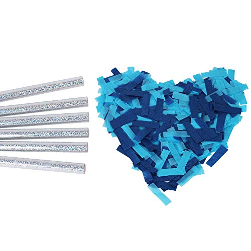 Gender Reveals Confetti Wands Blue 6Pack Paper Confetti Flick Sticks Biodegradable Tissue for Boy Baby Shower Party Decorations Supplies - Blue -