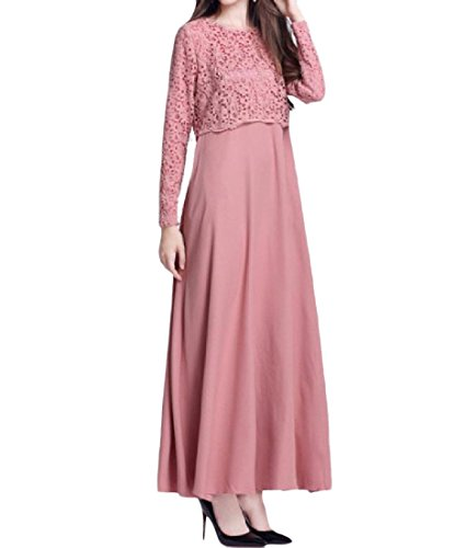 Tootless-Women Fashion Long Sleeve Big Pendulum Muslim Lace Gown Long Dress Pink L by Tootless-Women