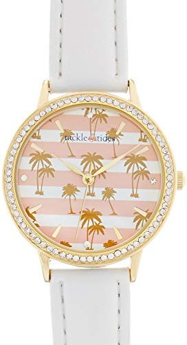 Tackle & Tides Womens Palm Tree & Stripes Watch White/Pink/Gold Tone