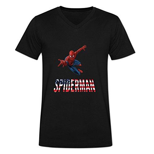 Novelty Eworld Mens The Amazing Spider-Man Spotlight Fans V-neck T Shirt XL Black