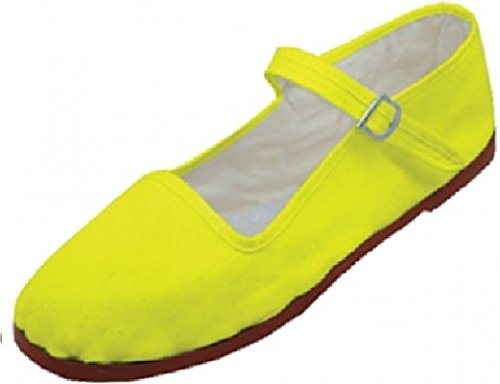Emuna Womens Cotton Mary Jane Shoes Ballerina Ballet Flats Shoes (9, Yellow 114)