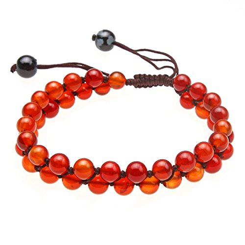 CCSC-PEC Handmade Genuine Leather Bracelet with Small Red Cloud Charms Wood Beads,Color Black