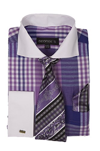 George's Big Plaid Pattern Fashion Dress Shirt with Tie Set & Cuffs AH626 Purple 16-16 1/2 (Purple Plaid Woven Shirt)