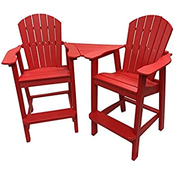 Phat Tommy Recycled Poly Resin Balcony Chair Settee – Durable and Adirondack Patio Furniture, Red