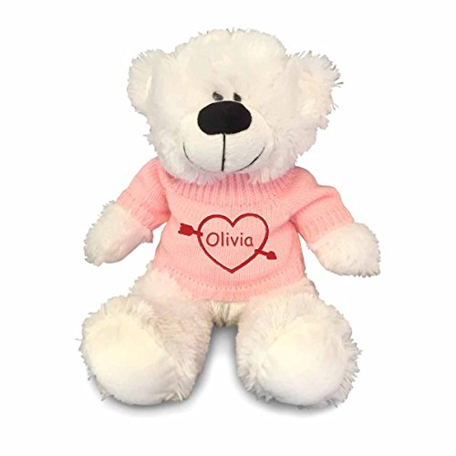 Personalized Heartstruck Snuggle Teddy Bear - White, 12 inch (Pink Sweater)