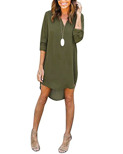 Arme Chemise Tops Tunique Lache Longue Verte Blouse Col Haut Femme Manches Mousseline V Mini Robe OYFdqO7W