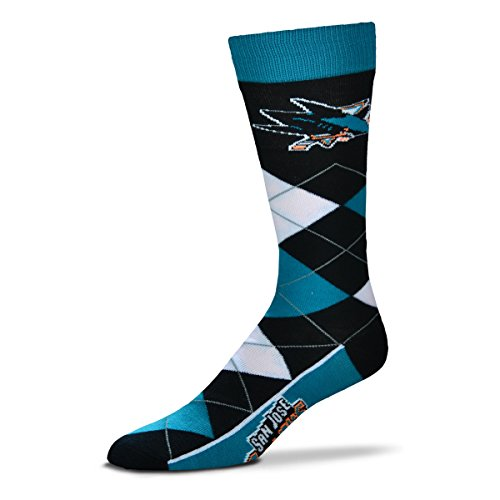 bde32b07b8 For Bare Feet NHL Argyle Lineup Unisex Crew Dress Socks-One Size Fits Most-San  Jose Sharks