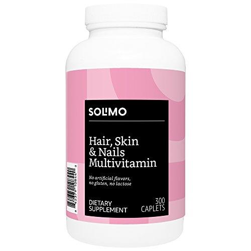 Amazon Brand - Solimo Hair, Skin & Nails Multivitamin, Biotin 3000 mcg per Serving (2 Caplets), 300 Caplets, Value Size (Best Multivitamin For Skin)