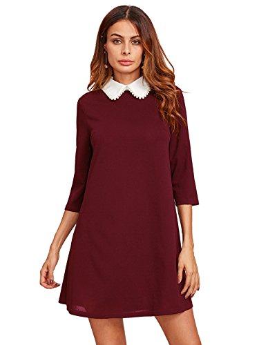 Floerns Women's Peter Pan Collar Short Tunic Dress Burgundy XS]()