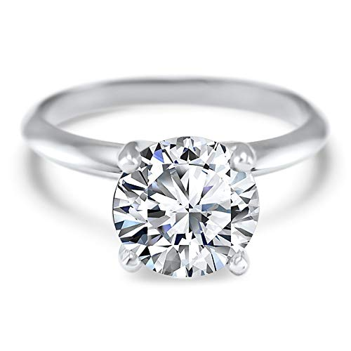 - 1.5 Carat 7.5mm round Forever ONE colorless moissanite solitaire engagement ring 14k white gold 4 prong