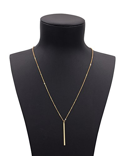 Gold Costumes Necklace (Geerier Gold Chain Y Type Simple Bar Necklace Pendant Long Lariat Necklace)