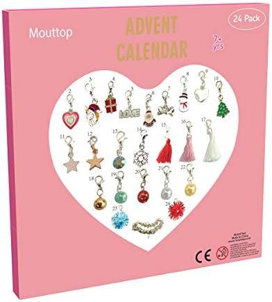[해외]Mouttop Advent Calendar 참 팔찌 DIY 23참 1개의 팔찌 패션 주얼리 크리스마스 어드밴트 캘린더 아동용 (2018 핑크) / Mouttop Advent Calendar,Charm Bracelet DIY 23Charms with 1 Bracelet Fashion Jewelry Christams Advent Calendars for Kids...