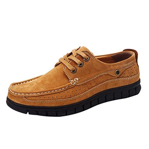 CHENGYANG Herren Business Freizeit PU Leder Schuhe Atmungsaktiv Sneakers Halbschuhe Braun
