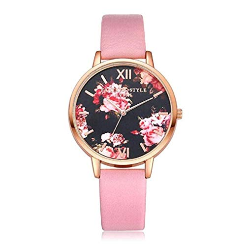 (Noopvan Fashion Casual Watches Women Quartz Floral Dial Wristwatch Clock Ladies Dress Gift Round Watches (Pink))