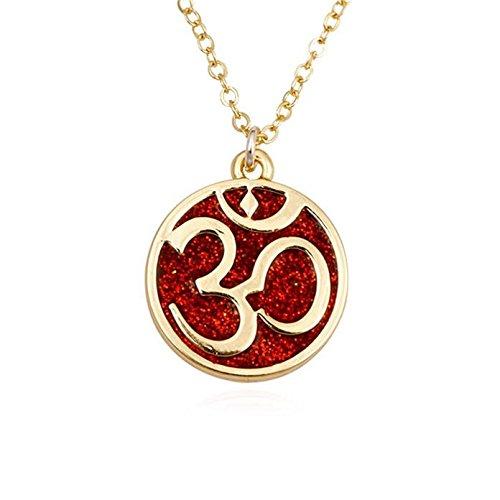 GUANDU Dainty Round Yoga Om Aum Ohm Symbol Pendant Necklace for Unisex (Silver)