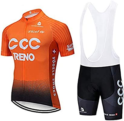SUHINFE Maillot Ciclismo Hombre, Ropa Ciclismo y Culotte Ciclismo con Culotte Pantalones Acolchado 3D para Deportes al Aire Libre Ciclo Bicicleta, CCC-Orange, L: Amazon.es: Deportes y aire libre
