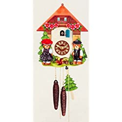 mygermanstore One Day Movement Kids Cuckoo Clock - Black Forest House Theme 10 Inch