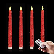 """Set of 4 LED Flameless Candles (10"""" Tall) - Fake Candles with Realistic Flame - Home Improvement Unscented Pillar Candles - Decorative Flameless Taper Candles w/Remote, Timer"""