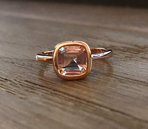 Rose Gold Morganite Engagement Ring- Cushion Cut