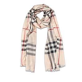 BURBERRY Tartan wool and silk gauze scarf