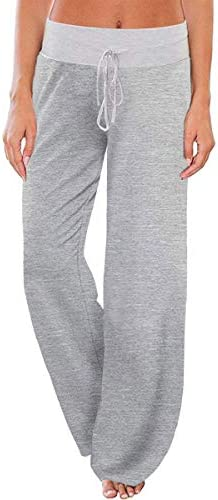 AMiERY Women's Comfy Pajamas Pants Casual Stretchy Pants Drawstring Wide Leg Palazzo Lounge Pants for All Seasons