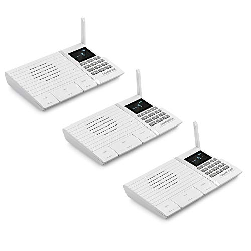 Wireless Intercom System, SAMCOM FTAN20A 20 Channels 3 Code Security Ultra-thin Room to Room Intercom with Display Screen 1000FT Long Range for Home and Office (3 Units)
