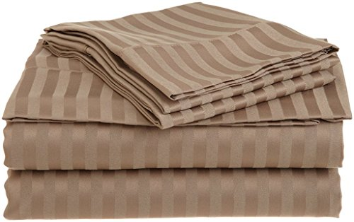 (Rajlinen 100% Cotton Bed Sheets - 300 Thread Count Sateen - 15 inch Deep Pocket - Quality Luxury Bedding -{ 4 Piece Best Sheets for Bed, Breathable, Soft & Silky }(Taupe Stripe California King))