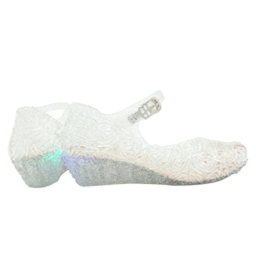 Jelly Sandal for Girls with LED Light Heel Princess Girls' Sparkle Dress Up Cosplay Heel Jelly Shoes Size 3 White ()