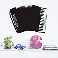 Scmkd Hollow Out Accordion Vinyl Wall Sticker Home Decor Black Musical Instrument Wall Decals Cartoon Kids Room Removable