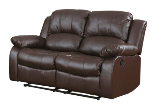 Homelegance Double Reclining Loveseat, Brown Bonded Leather price