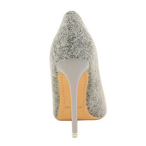 Toe High WeiPoot Pointed Pumps On Suede Shoes Imitated Gray Pull Heels Women's Solid Unn60O